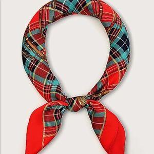 🆕Tartan plaid red green bandana silky